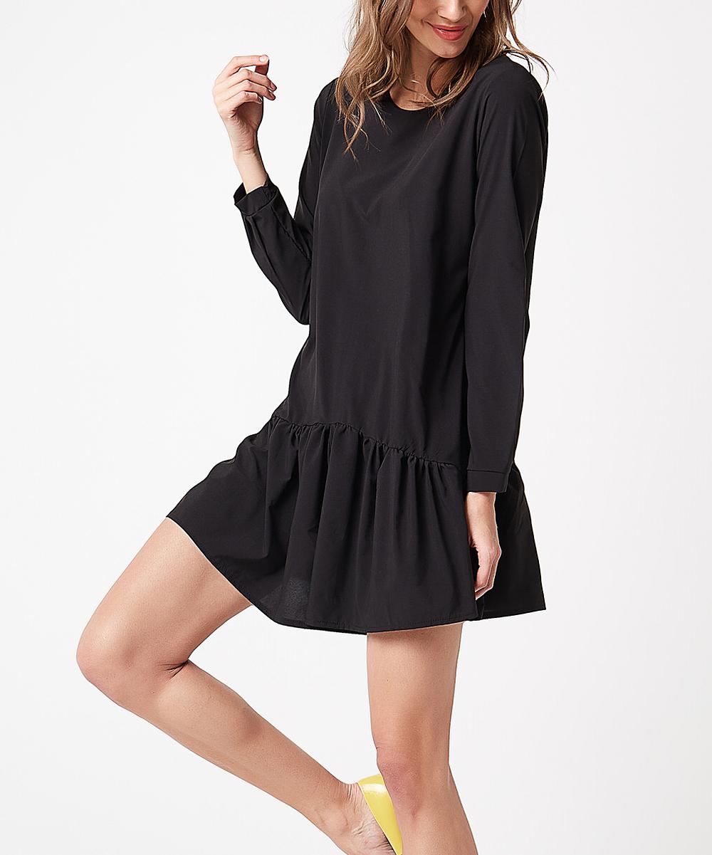 0a68f171b3f Scui Studios Black Tie-Accent Long-Sleeve Shift Dress - Women