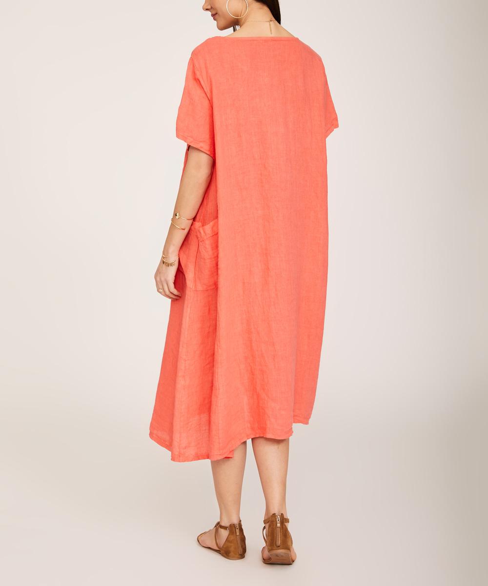 3ca320b87391 Ornella Paris Coral Pocket Linen Midi Dress - Women & Plus | Zulily
