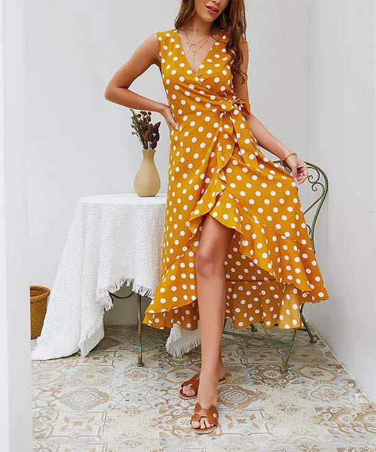 13bf145e3a5 Sucrefas Yellow Polka Dot Ruffle Wrap Dress - Women