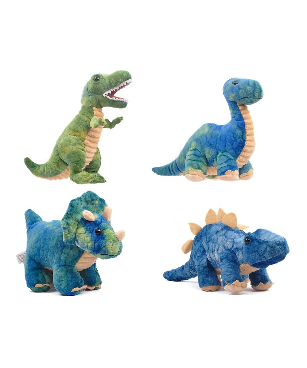 Linzy Toys  Stuffed Animals BLUE - Green & Blue Large Dino Plush Set