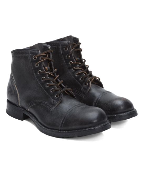 4ddc0d3360e Frye Black Logan Cap-Toe Leather Boot - Men
