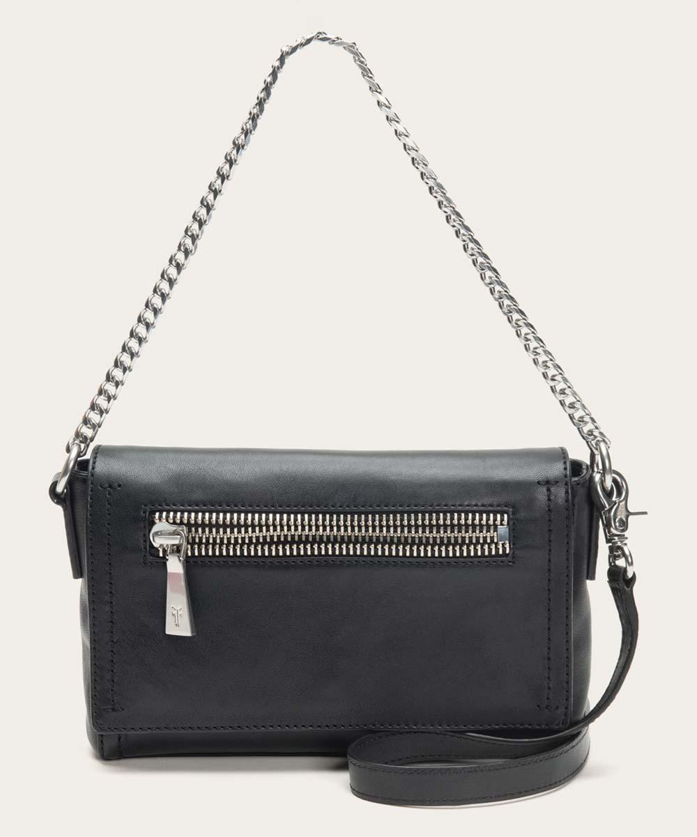e6899f779f97 Frye Black Lena Chain-Strap Leather Crossbody Bag