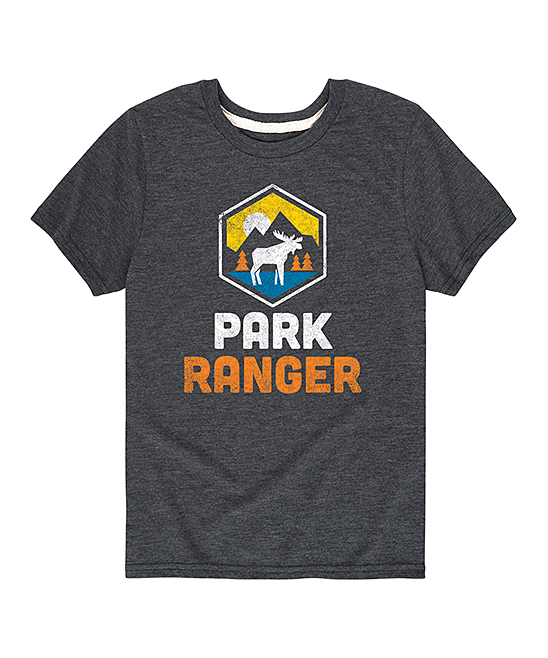 Instant Message  Tee Shirts HEATHER - Heather Charcoal 'Park Ranger' Badge Tee - Kids