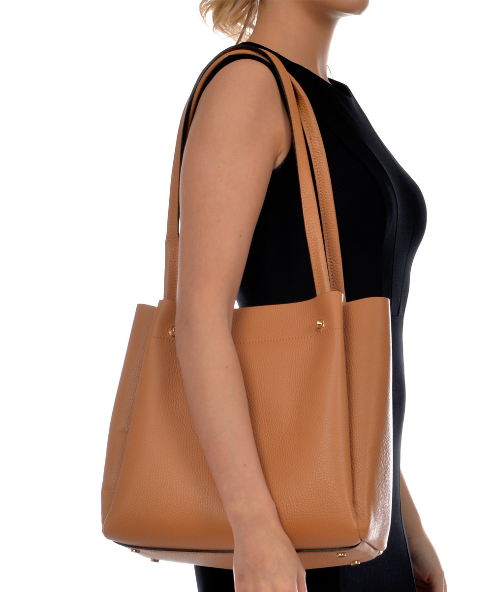 d8c5eb80a0029f ... Womens COGNAC Cognac Rivet-Accent Leather Shoulder Bag - Alternate  Image 5