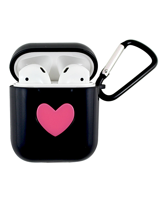 Black Heart Apple AirPods Charging Case Sleeve with Carabiner Black Heart Apple AirPods Charging Case Sleeve with Carabiner. Protect your precious AirPods with this soft silicone sleeve that fits conveniently over your Apple charging case and is designed to keep your headphones safe from scratches, dust and shock with 360-degree protection. Includes one sleeve, one carabiner and one manualApple AirPods and Charging Case not included3cm W x 6cm H x 5cm DABS plasticImported