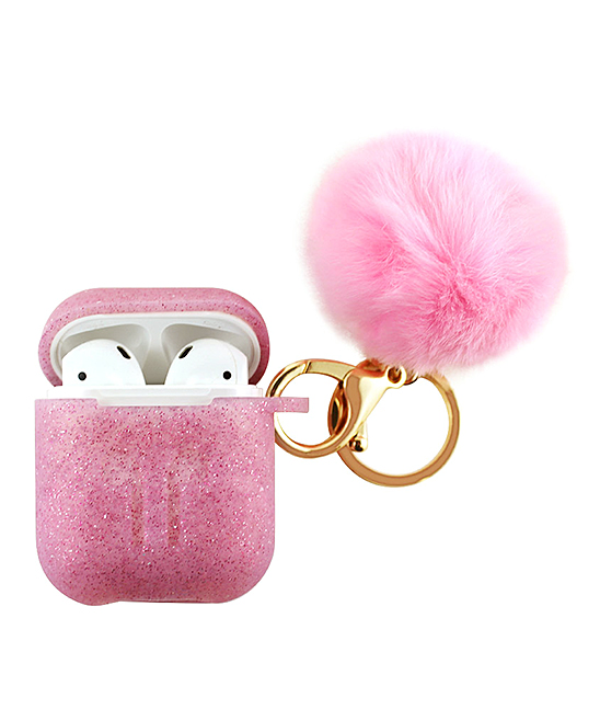 Pink Apple AirPods Charging Case Sleeve & Pom-Pom Keychain