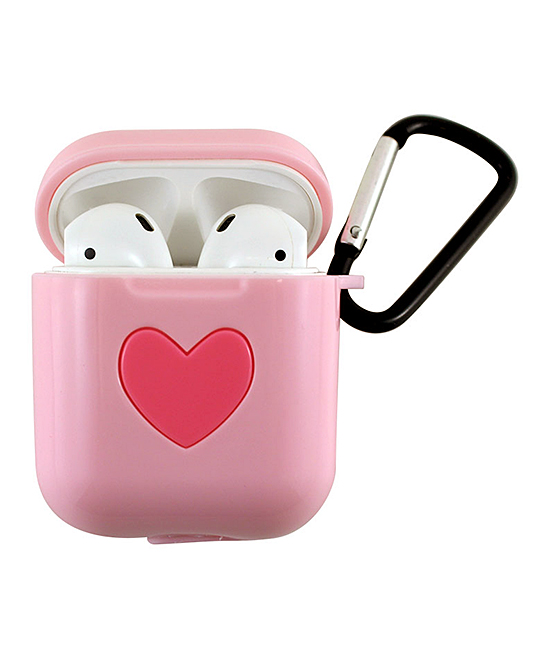 Pink Heart Apple AirPods Charging Case Sleeve with Carabiner Pink Heart Apple AirPods Charging Case Sleeve with Carabiner. Protect your precious AirPods with this soft silicone sleeve that fits conveniently over your Apple charging case and is designed to keep your headphones safe from scratches, dust and shock with 360-degree protection. Includes one sleeve, one carabiner and one manualApple AirPods and Charging Case not included3cm W x 6cm H x 5cm DABS plasticImported