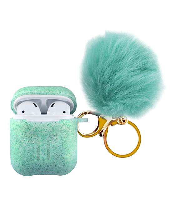 Teal Apple AirPods Charging Case Sleeve & Pom-Pom Keychain