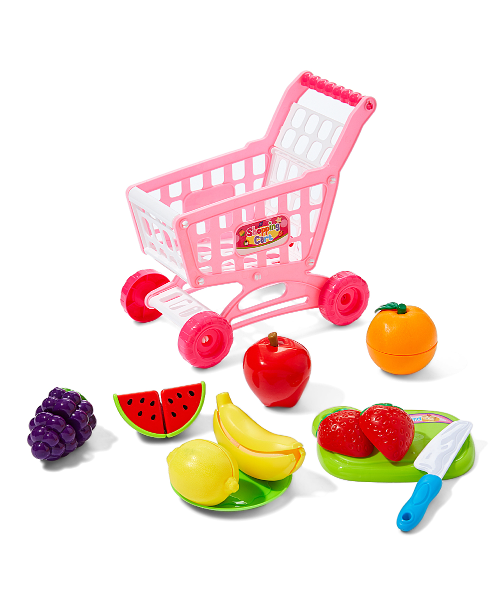 Push-Along Shopping Cart Toy Set Push-Along Shopping Cart Toy Set. Take downtime to the next level when incorporating this shopping cart set to your kiddo's play. Includes shopping cart and play fruit8'' W x 5.5'' H x 8'' DImported