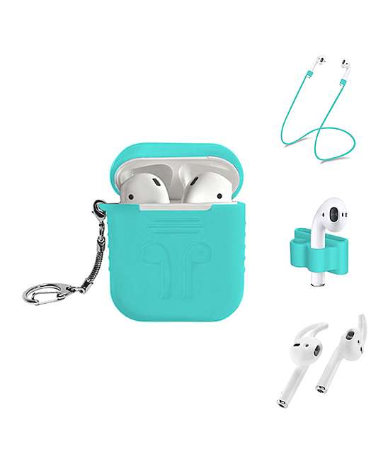 Tech Zebra  Electronic Chargers Teal - Teal Apple AirPods Five-Piece Accessory Set