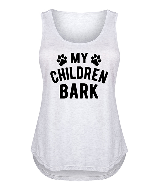 Heather White 'My Children Bark' Tank Heather White 'My Children Bark' Tank. Show off your proud dog mom status with this casual tank top made from a breathable cotton blend for tail wag-worthy comfort.Full graphic text: My children bark.1X = 14W  16W, 2X = 18W  20W, 3X = 22W  24W, 4X = 26W  28WSize 1X: 31'' long from high point of shoulder to hem55% cotton / 45% polyesterMachine wash; tumble dryImported, screen printed in the USA