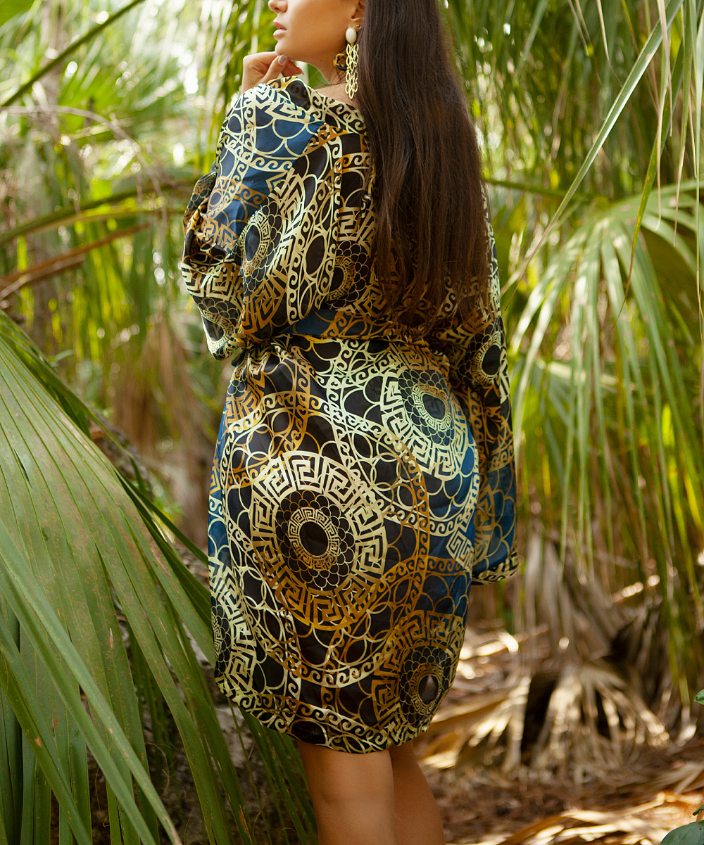 534c70eac9 ... Womens Blue, brown and gold. Blue & Gold Short Kimono Cover-Up -