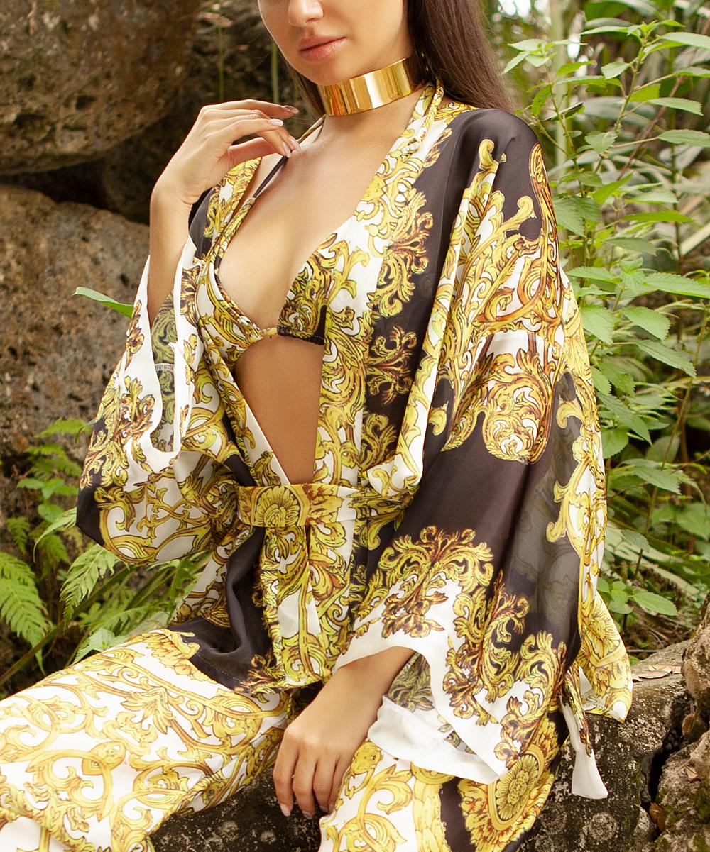 7b0385542d ... Womens Black, white and gold. White & Gold Ornate Short Kimono Cover-Up  ...