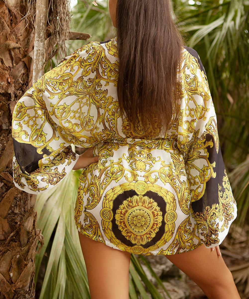 7e4b8b4c53 ... Womens Black, white and gold. White & Gold Ornate Short Kimono Cover-Up