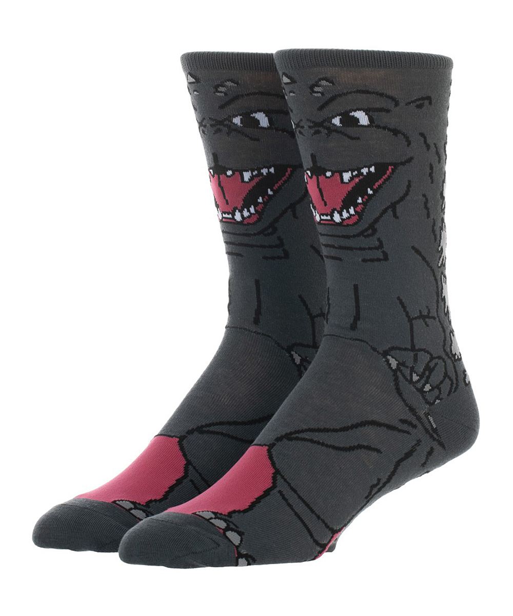 Gray Godzilla Socks - Men Gray Godzilla Socks - Men. Put some personality in his top drawer selection with this fearsome pair that warms his feet with their iconic print.Spot cleanImported