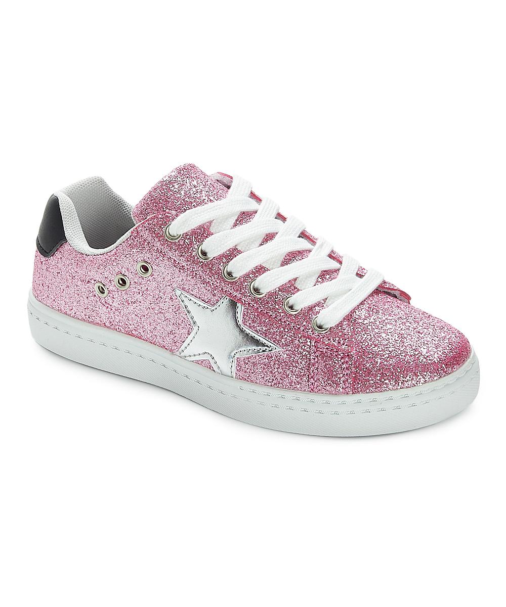 d00bc5324ad0 Hoo Family Pink Glitter Mia Star Sneaker - Girls | Zulily