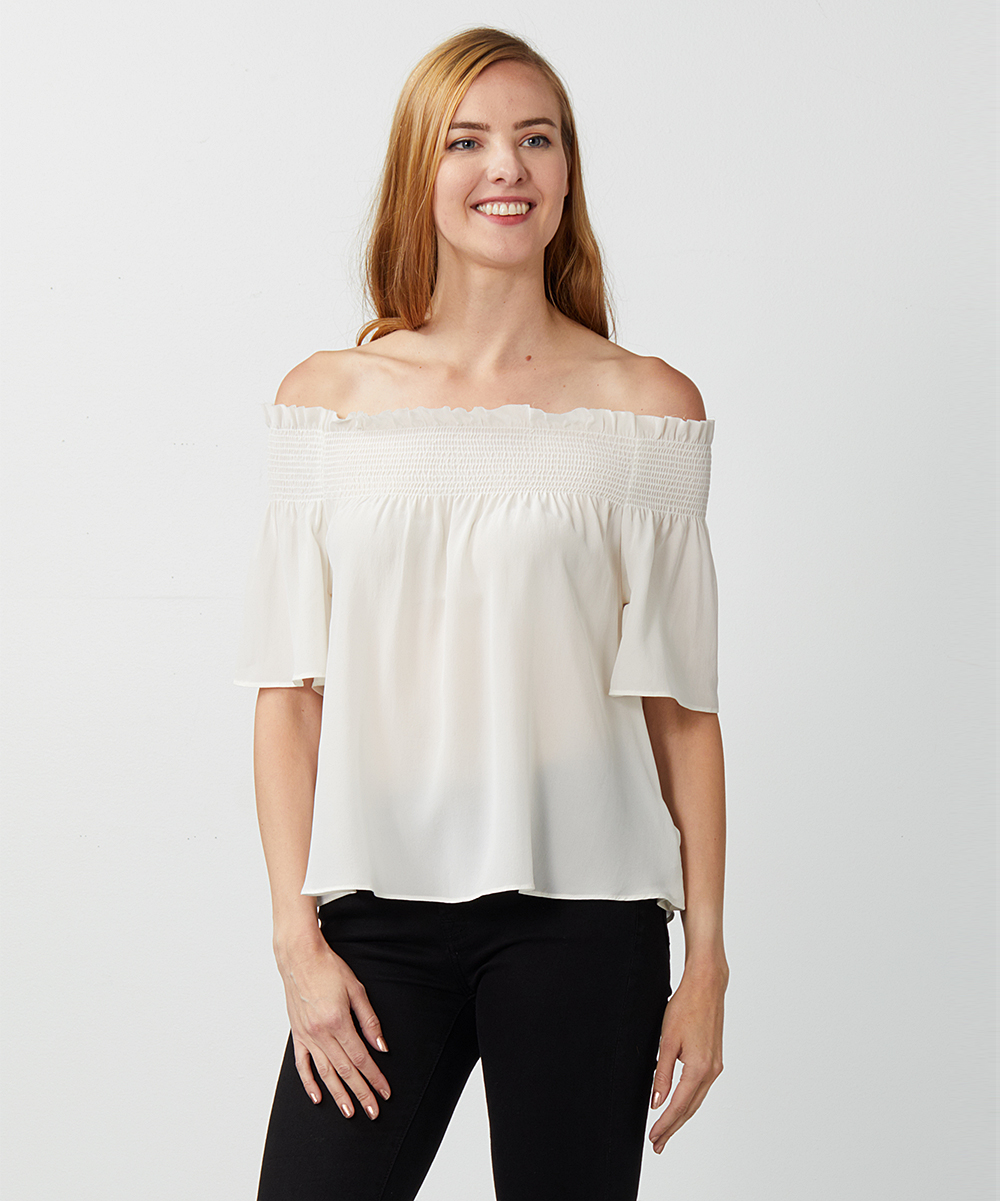 6cdccb0d697 7 For All Mankind Natural White Smocked Silk Off-Shoulder Top ...