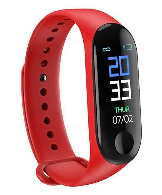 Red Smart Health Monitor Watch Bracelet Red Smart Health Monitor Watch Bracelet. This bracelet features a range of settings for the function you need to be easily accessible, from a simple heart pulse check to a sleep and fitness tracker so you can keep all your goals on track.Charge time: 1-2 hoursWaterproof with HD display touch screenBuilt-in USB plugSettings: heart rate pulse, blood pressure, blood oxygen, sleep tracker, fitness trackerAdjustable bandSmart calls and messagesTPU / ip67Imported