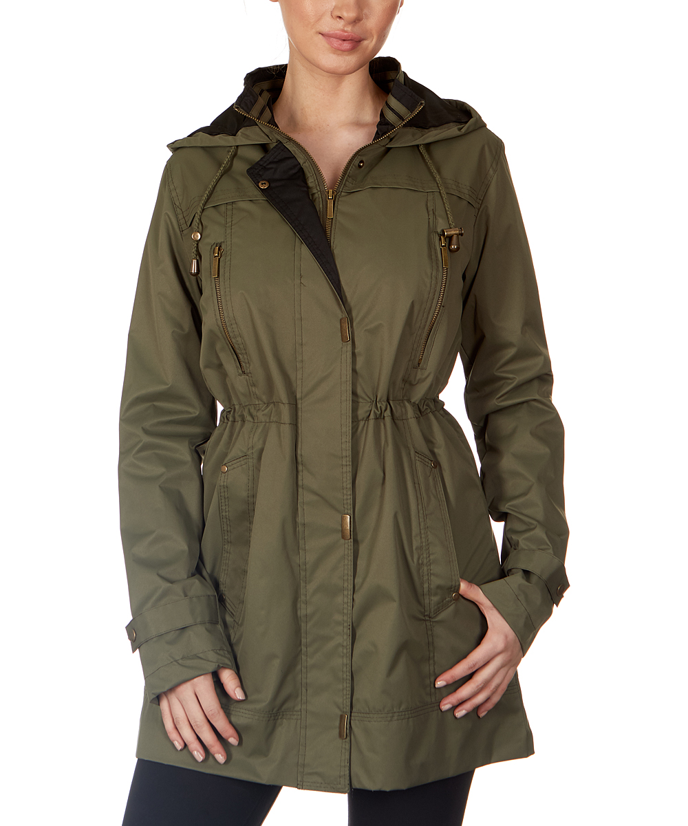 5fd294ceaaf7 Olive & Black Hooded Anorak - Women & Plus | Zulily