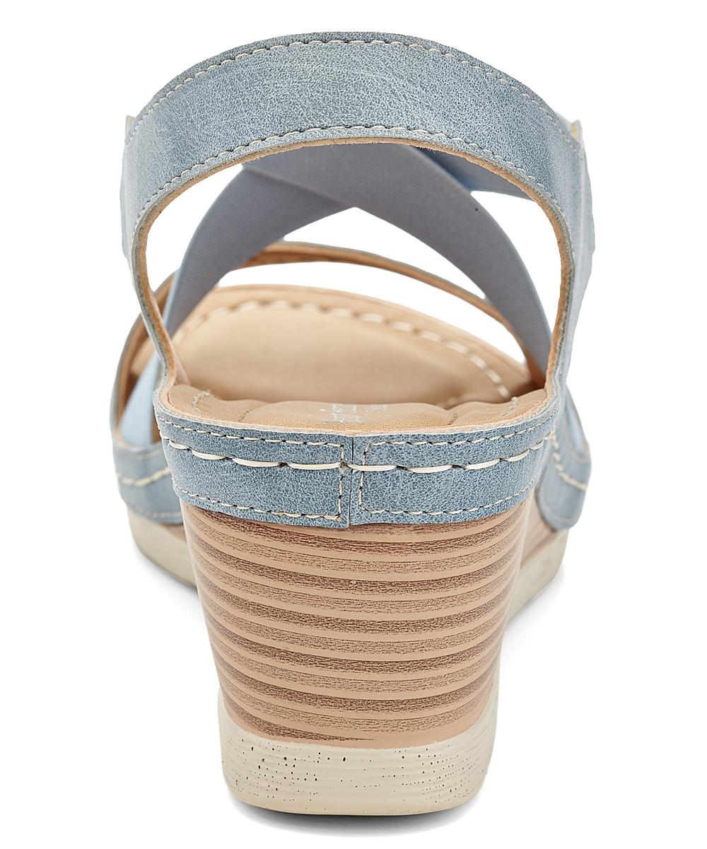 477e7e8640 Henry Ferrera Light Blue Cutout Wedge Sandal - Women | Zulily