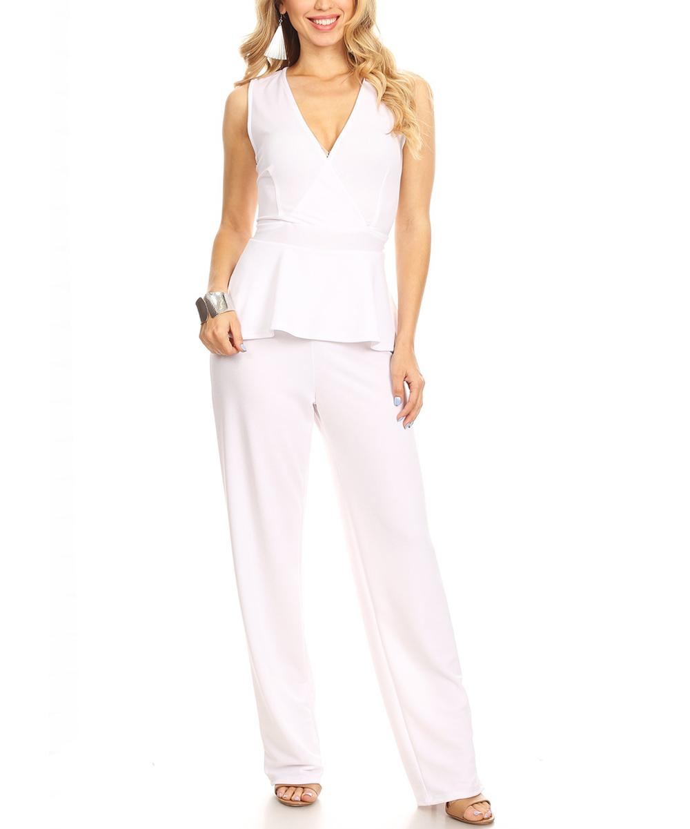 Karen T. Design Women's Jumpsuits black - White Peplum Jumpsuit - Plus