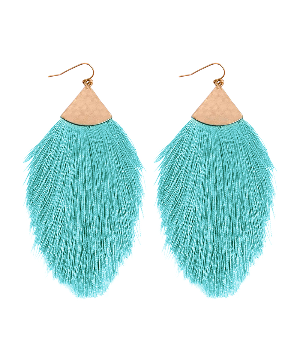 Turquoise & Goldtone Tassel Drop Earrings Turquoise & Goldtone Tassel Drop Earrings. Toss on a touch of bohemian style sporting these eye-catching drop earrings complete with a vibrant hue, goldtone accents and an enthralling feathery design. 0'' W x 3'' H x 0'' DGoldtone base metal / polyesterImported