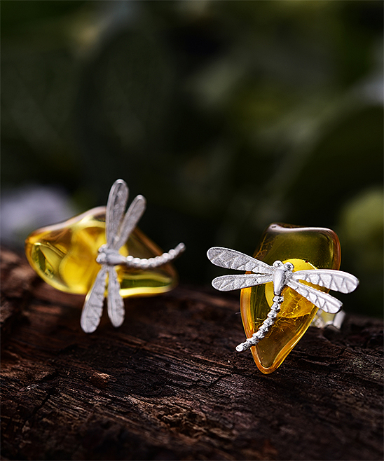 b4e18d4a4 ... Womens SILVER Amber & Sterling Silver Dragonfly Stud Earrings -  Alternate Image ...