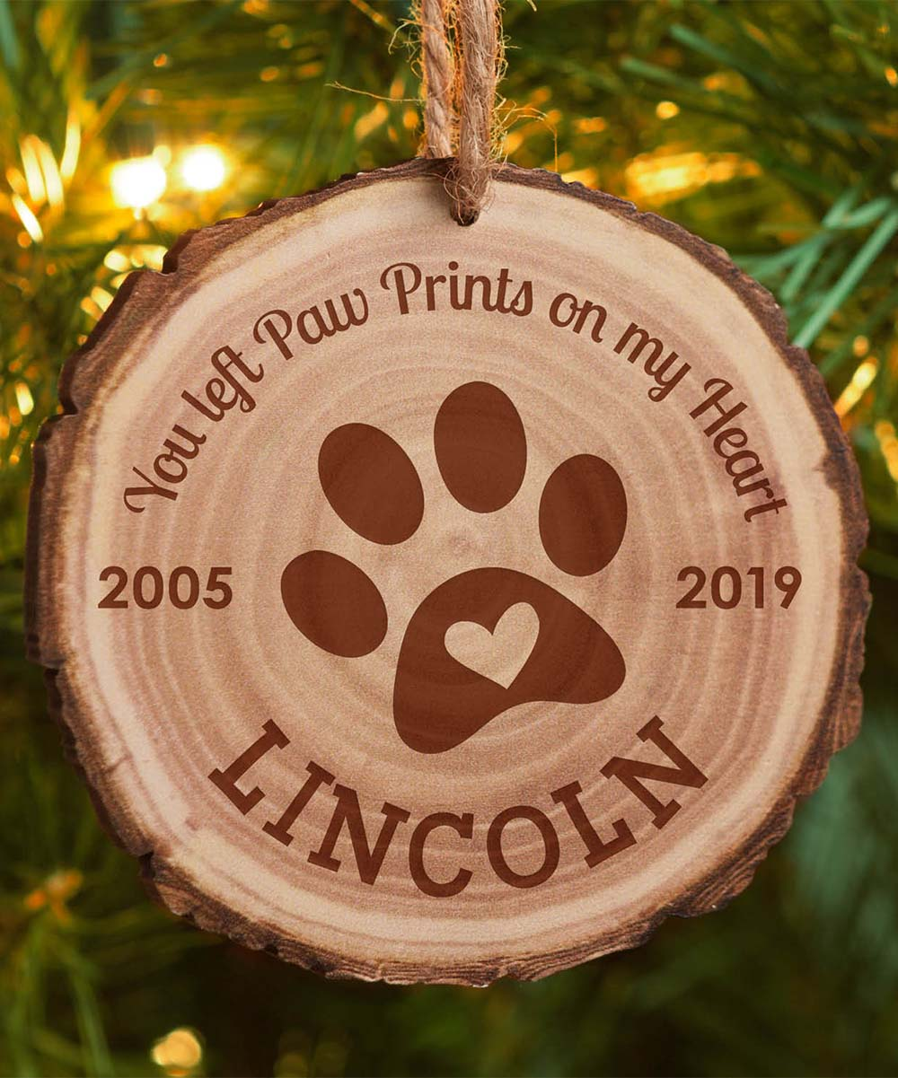 Memorial Christmas Ornaments.Personalized Planet Brown Barky Wood Pet Memorial Personalized Ornament