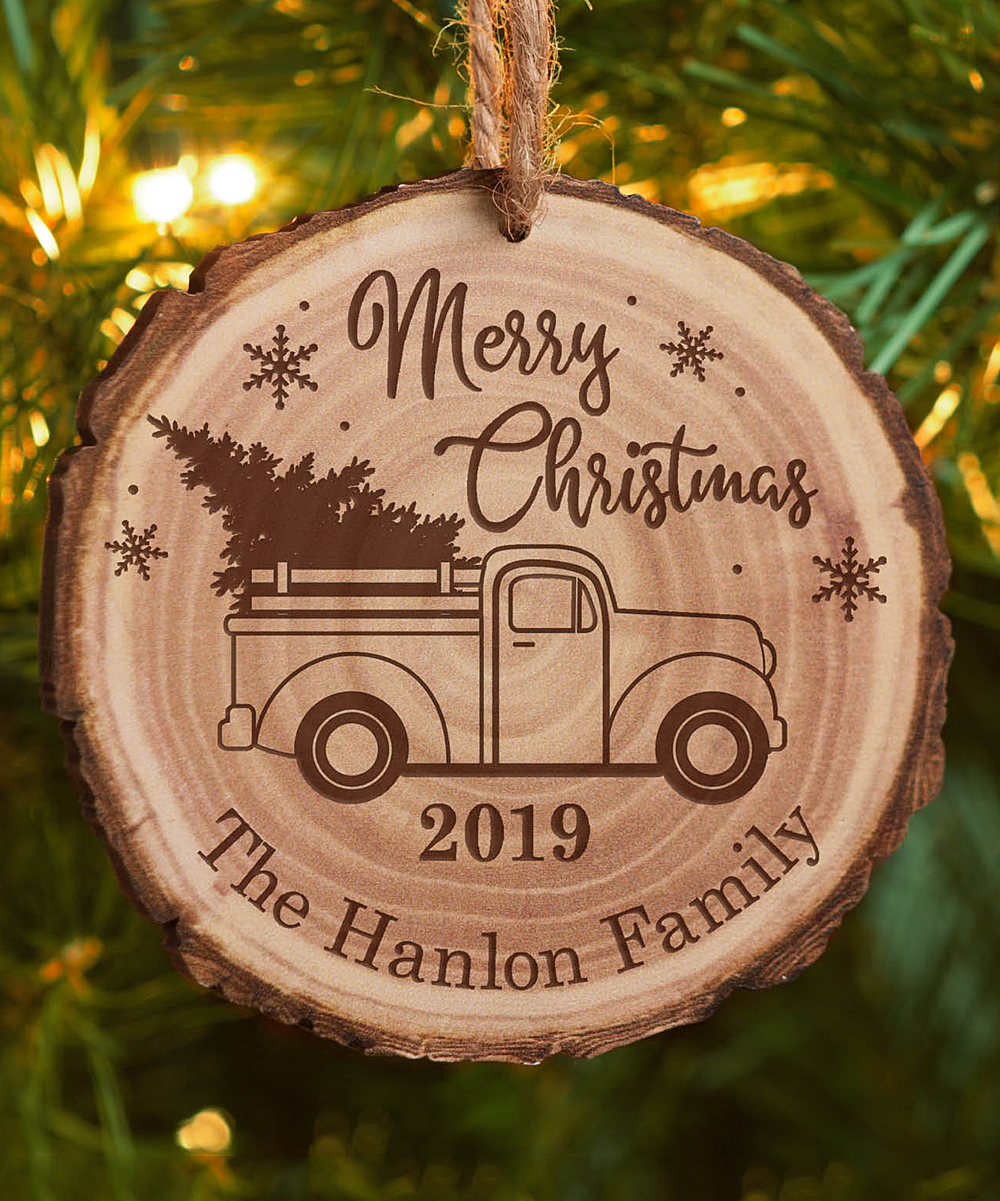 Christmas Ornaments Personalized.Personalized Planet Wooden Merry Christmas Truck Tree Personalized Ornament