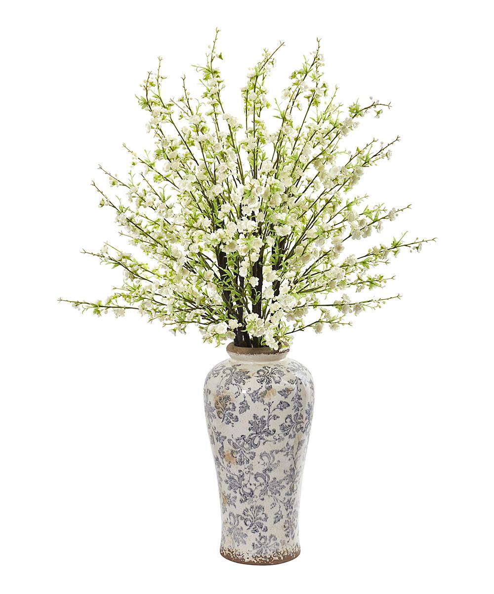 White & Green Cherry Blossom Arrangement & Filigree Vase