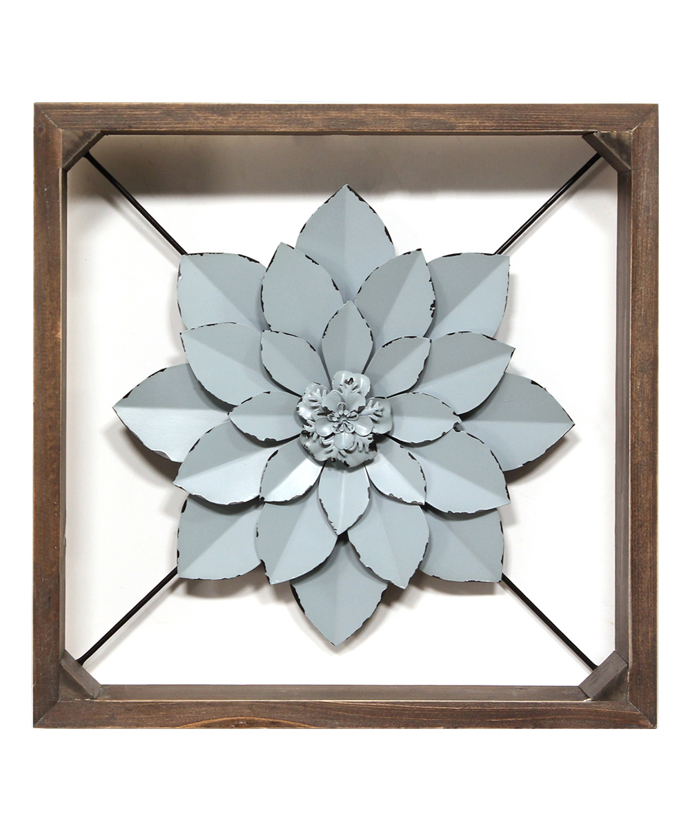 Stratton Home Decor  Typography Wall Decor Dark - Blue Framed Flower Wall Decor Blue Framed Flower Wall Decor. Lend your living space a graceful accent with this piece of wall decor that features an ornate floral design. 15.75'' W x 15.75'' H x 2.75'' DMetal / woodReady to hangImported