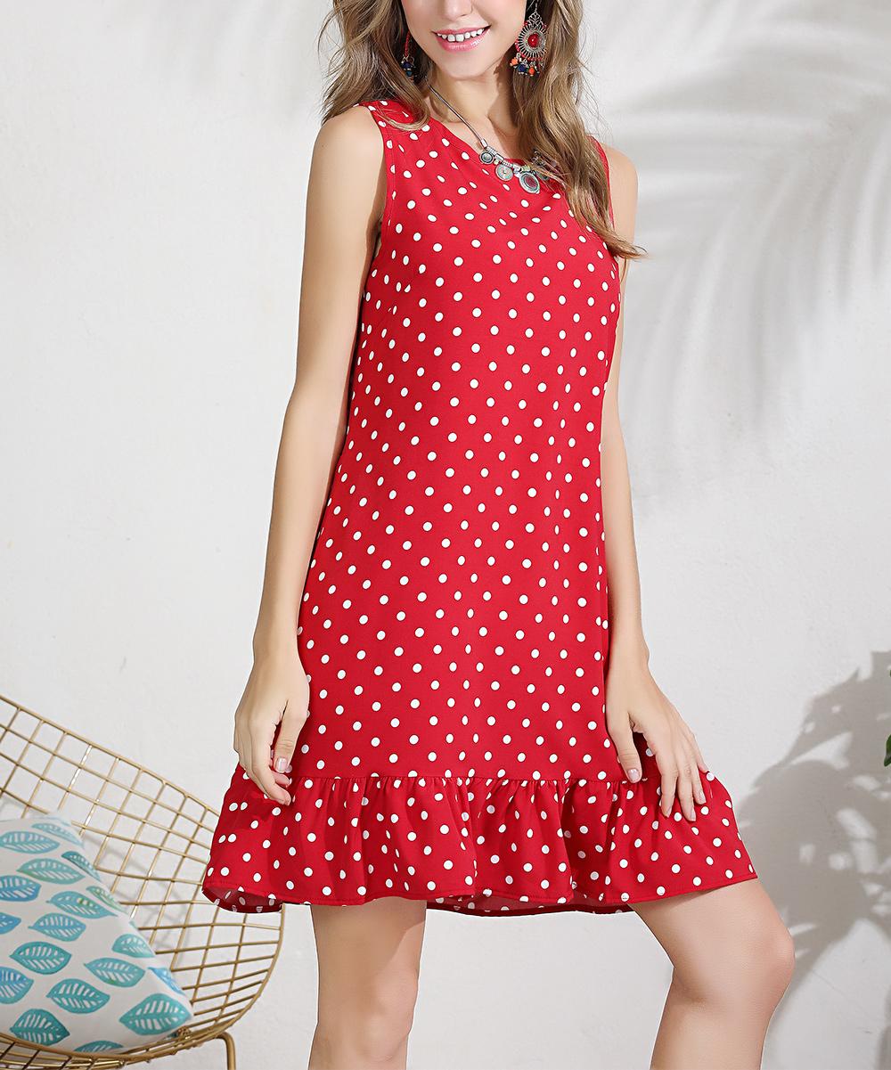 8b9322f6c3e8 LAKLOOK Red & White Polka-Dot Ruffle-Hem Shift Dress - Women | Zulily