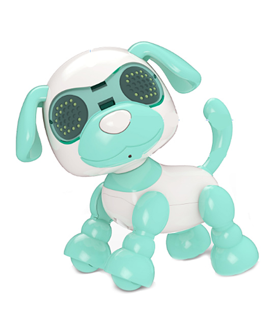 Coco & Mac Toys Boys' Toy Pretend Electronics Green - Blue & White Interactive Robot Puppy Toy