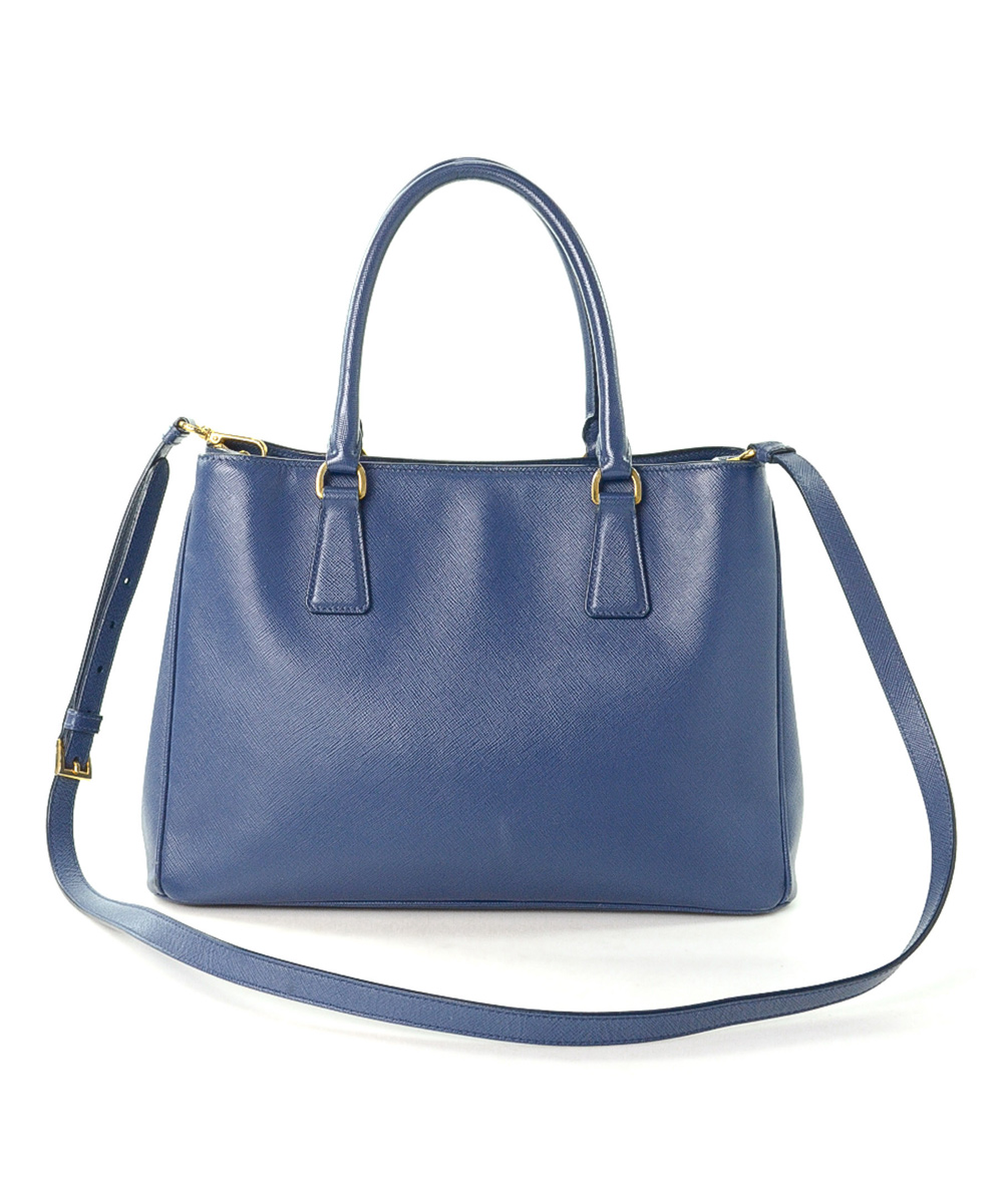 1024f9148d Prada Pre-Owned Blue Saffiano Lux Two Way Leather Tote | Zulily