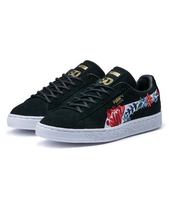 a3574299ec273 PUMA Black & White Hyper Embroidered Suede Sneaker - Women
