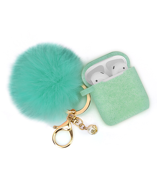 Mint Apple Airpod Glitter Case & Ornament Key Chain Mint Apple Airpod Glitter Case & Ornament Key Chain. Covet your Airpods in the glamorous sparkle of this case, joined by an ornamental key chain and a durable bump, drop and shock resistant construction. Includes Apple Airpod case and Ornament Key ChainKey chain length: 4.92''Water resistantSiliconeImported