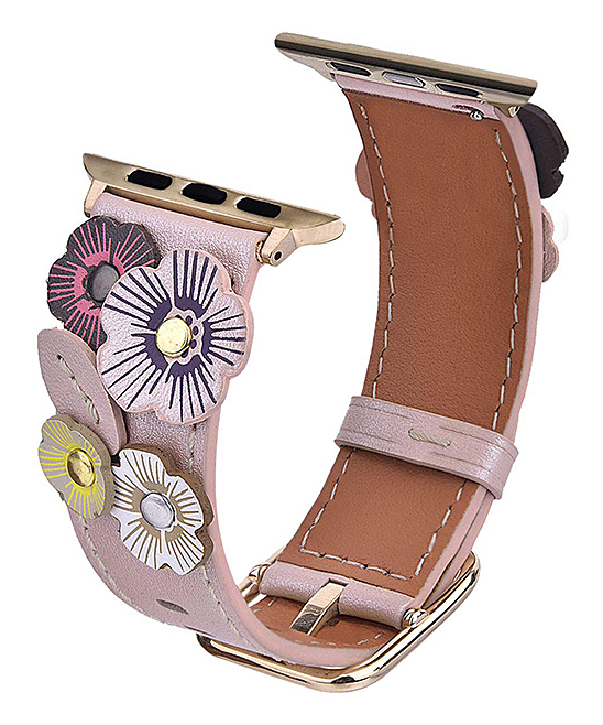 Rose Gold Stainless Steel Floral Rivet Apple Watch Replacement Band