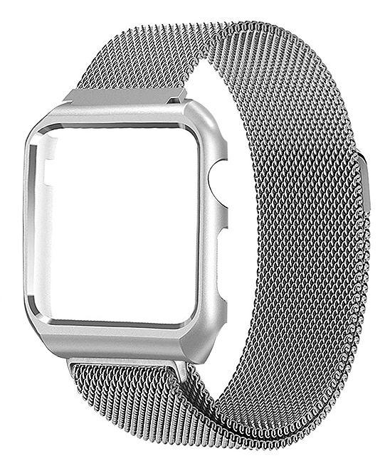 Silver Loop Mesh Band with Matching Frame for Apple Watch Series 1, 2, 3, & 4