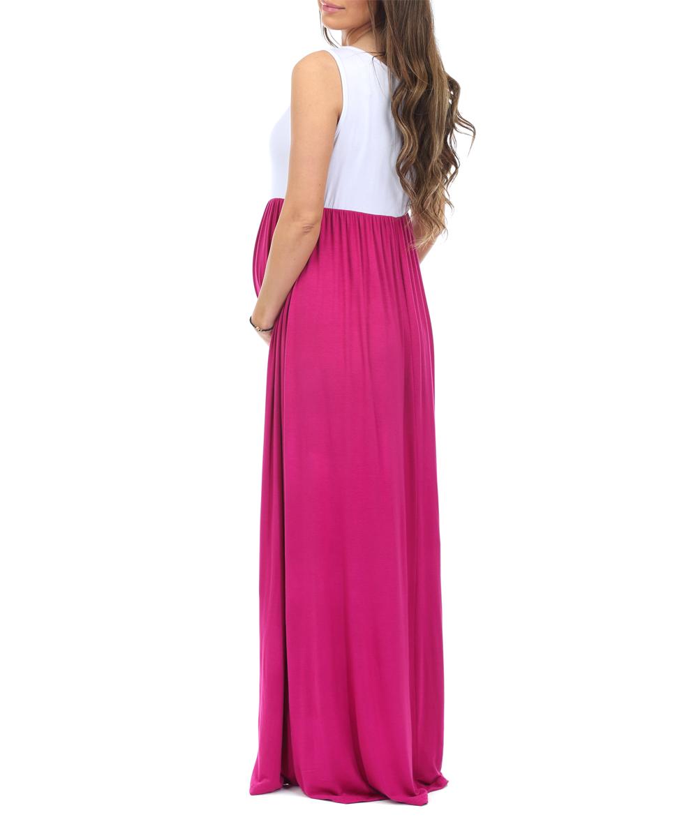 75066e491100c ... Womens MagentaWhite Magenta & White Color Block Sleeveless Maternity  Maxi Dress - Alternate Image ...