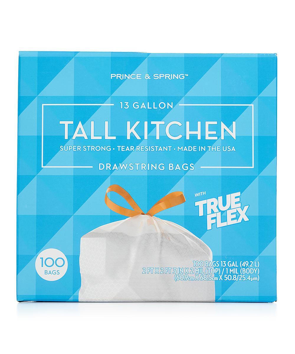 Prince & Spring 100-Ct. 13-Gal. Tall Kitchen Garbage Bags Pack