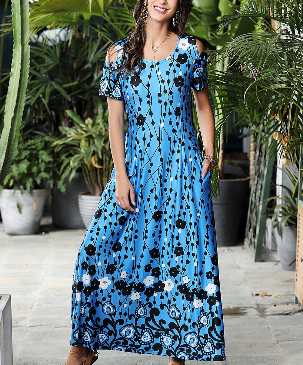 9a11850dc36f Light Blue & Black Floral Dot Cold-Shoulder Maxi Dress - Women & Plus -  Reborn Collection