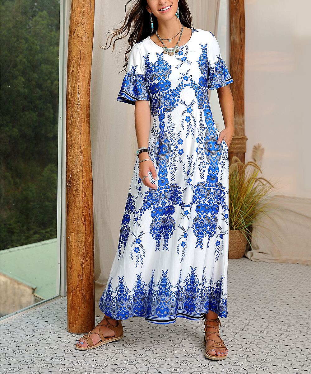4931ae0c White & Blue Paisley Ruffle Sleeve Maxi Dress - Women & Plus - Reborn  Collection