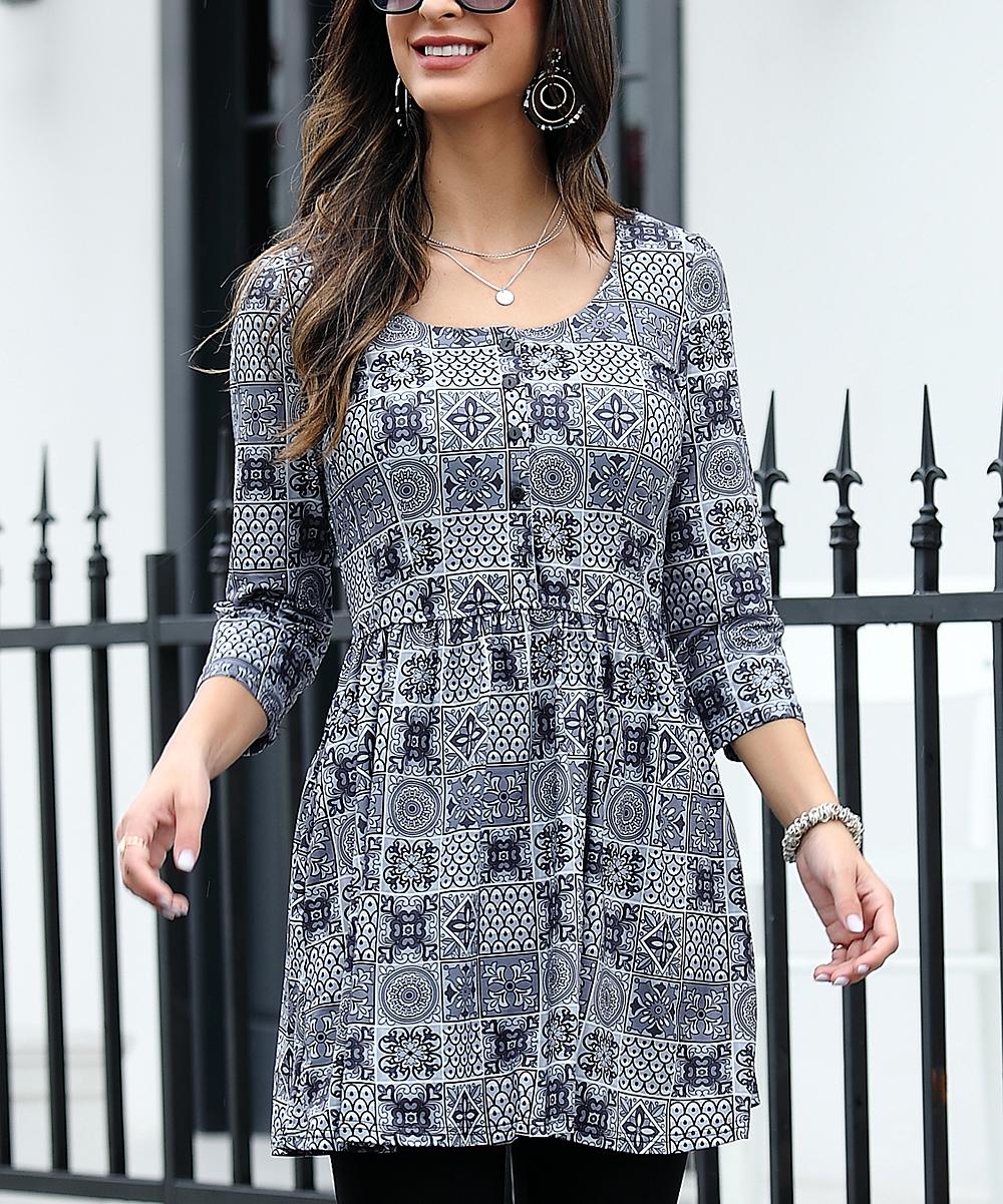 Reborn Collection Women's Tunics Gray - Gray & White Geometric Button-Up Tunic - Women & Plus