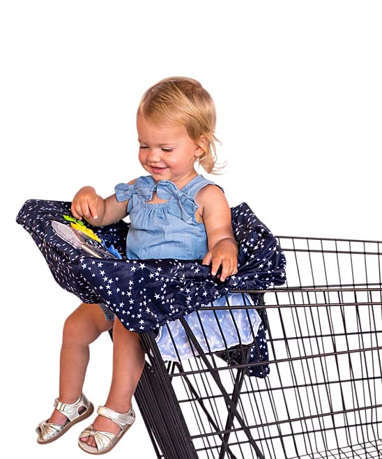 Navy & White Star Shopping Cart/High Chair Cover Navy & White Star Shopping Cart/High Chair Cover. This baby chair cover is designed to help you conquer mom life with fur-lined leg holes and an easy-wipe, padded fabric that stretches to fit shopping carts and high chairs of all sizes. Includes zip storage pouch attachment and cover27'' W x 23'' H x 1'' DOne slip pocketTwo toy loopsCell phone-viewing pocketUniversal fit on shopping cartsNylon / man-madeImported