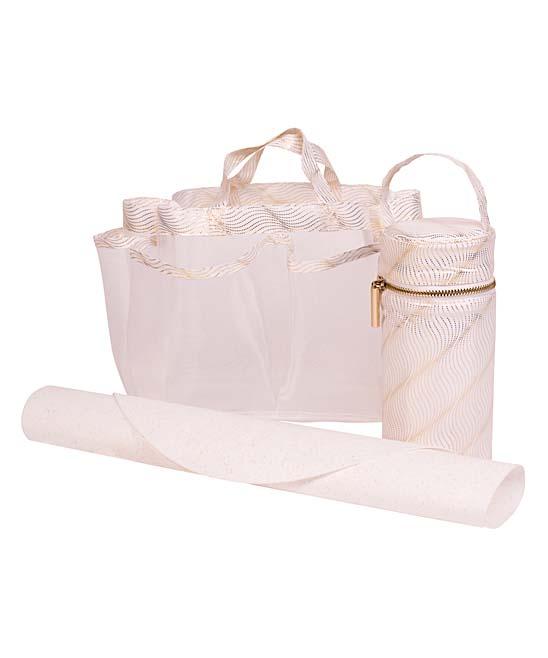 Rosie Pope  Diaper Bags White - White & Gold Pin Dot Diaper Tote Set