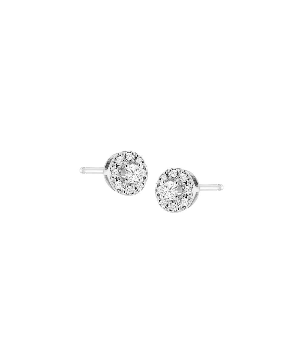 b3becc6b3 ... Womens White 0.25-carat Diamond & Sterling Silver Halo Stud Earrings -  Alternate Image ...