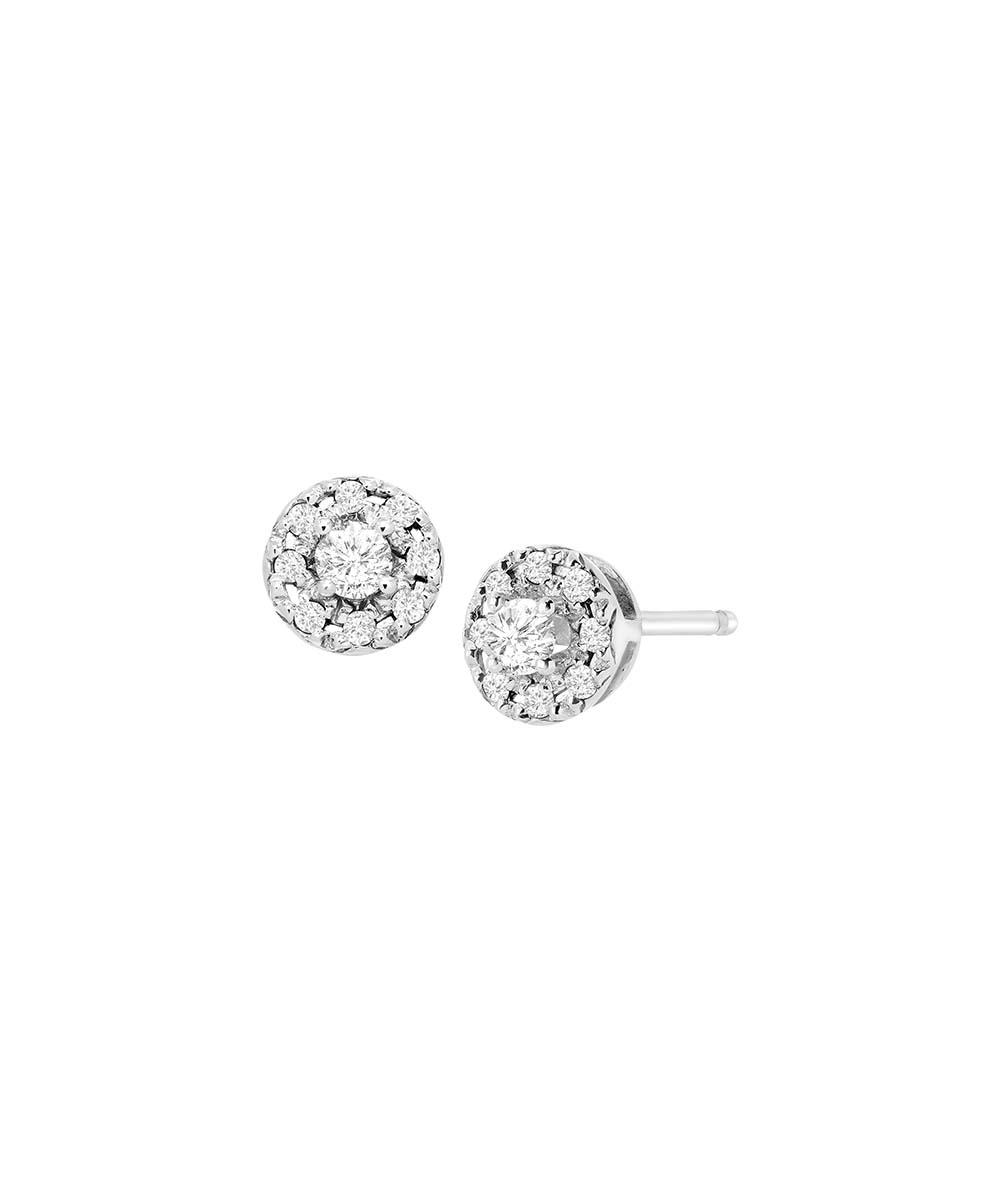 fe1bcc3c9 ... Womens White 0.25-carat Diamond & Sterling Silver Halo Stud Earrings -  Alternate Image 3