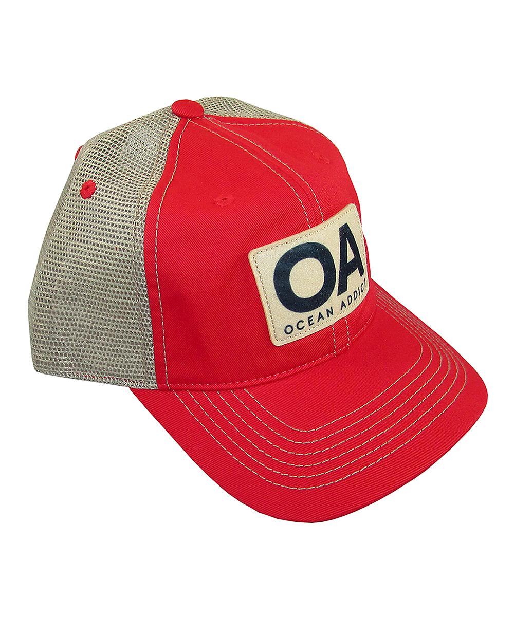 0b79fef31 Ocean Addict Red 'OA' Trucker Hat