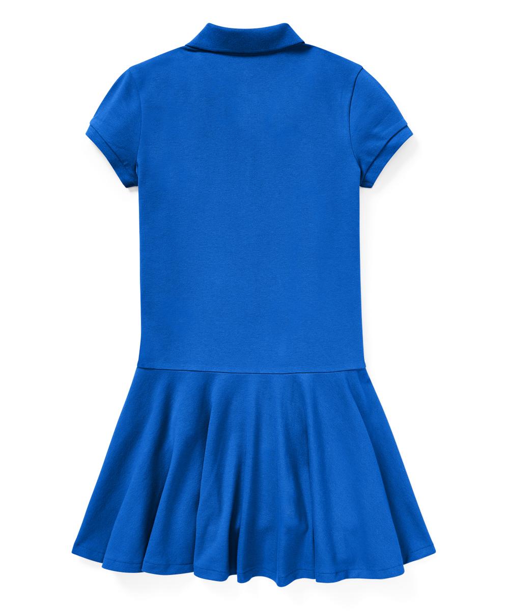 1d35eae6a3a love this product New Iris Blue Stretch Mesh Collar Drop-Waist Polo Dress -  Girls