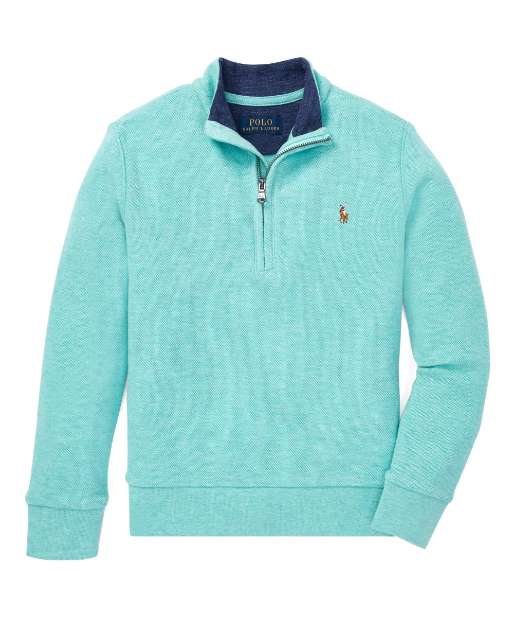 64e58be353 Polo Ralph Lauren Caribbean Green Heather Reversible Oxford Mesh Half-Zip  Pullover - Boys